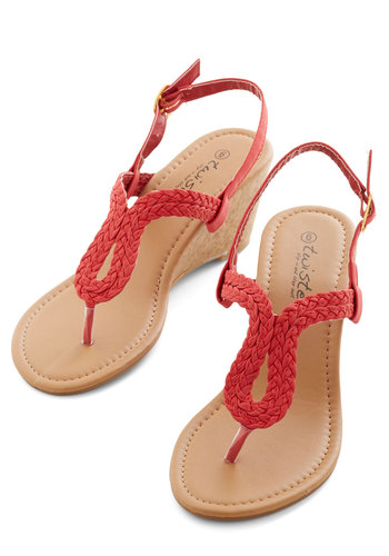 Summer Staple Sandal in Red - Mid, Red, Solid, Braided, Casual, Daytime Party, Beach/Resort, Good, Slingback, Variation, Wedge
