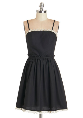Song and Cadence Dress - Black, Solid, Trim, Party, A-line, Strapless, Woven, Better, Lace, Spaghetti Straps, Long