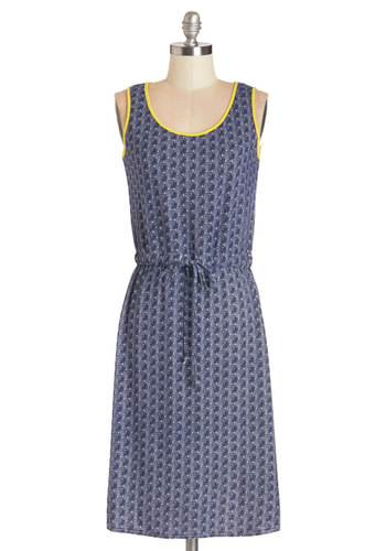Beachside Barbecue Dress - Blue, Yellow, Print, Casual, Nautical, A-line, Sleeveless, Summer, Knit, Good, Scoop, Long, Belted