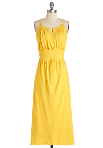 Sunshine Stunning Dress - Yellow, Solid, Cutout, Casual, Beach/Resort, A-line, Summer, Knit, Good, Long, Spaghetti Straps