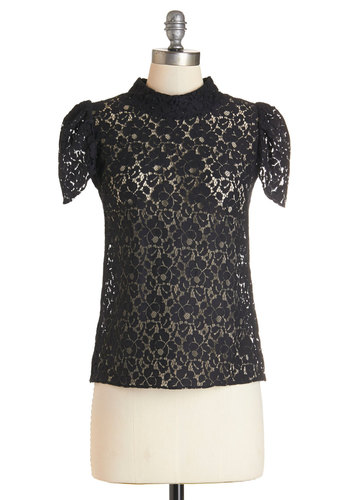 Over and Outing Top - Mid-length, Woven, Lace, Black, Solid, Lace, Party, Steampunk, Black, Short Sleeve, Work, French / Victorian, Cap Sleeves
