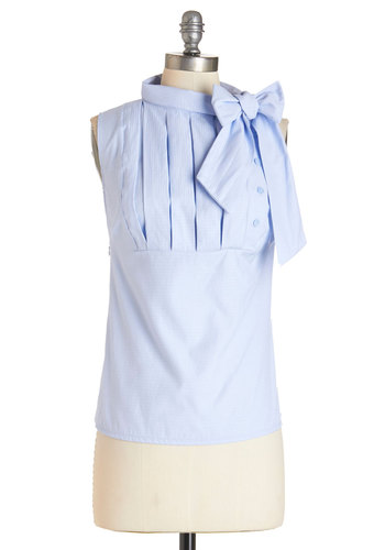 Summer Sangria Top - Mid-length, Woven, Blue, Buttons, Pleats, Tie Neck, Work, Darling, Sleeveless, Blue, Sleeveless