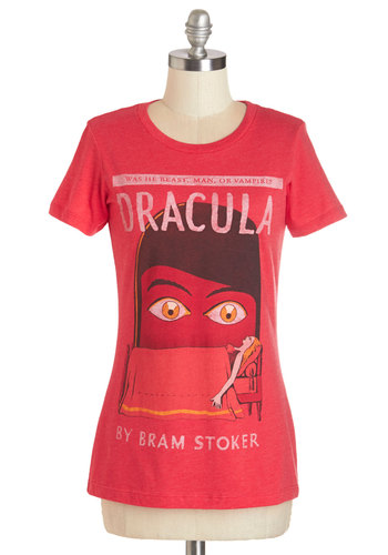 Novel Tee in Dracula by Out of Print - Mid-length, Knit, Red, Novelty Print, Casual, Nifty Nerd, Short Sleeves, Variation, Crew, Red, Short Sleeve, Halloween