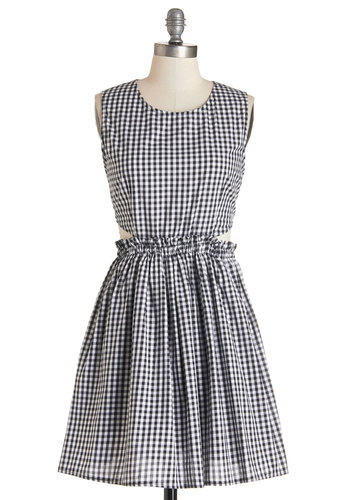 Sundae Kind of Love Dress by Kling - White, Checkered / Gingham, Cutout, Casual, Sundress, A-line, Sleeveless, Summer, Woven, Better, Scoop, Short, Black