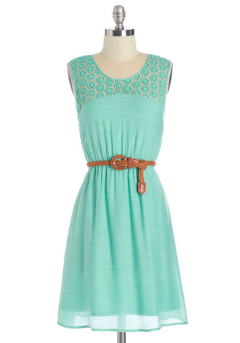 Coastal Daydreams Dress - Solid, Crochet, Belted, Daytime Party, A-line, Sleeveless, Summer, Woven, Better, Scoop, Mid-length, Mint