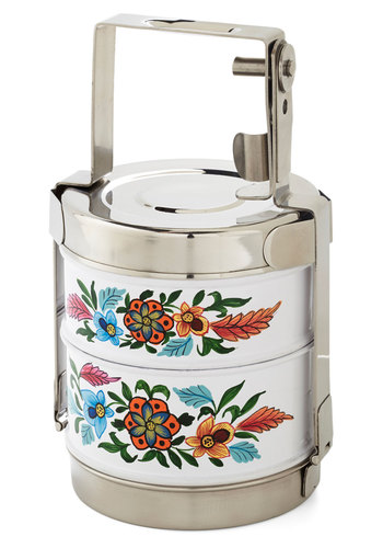 Flair for Fare Tiffin Box by Karma Living - Multi, Boho, Vintage Inspired, Good, Floral, Travel, Spring, Summer