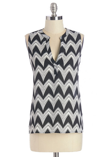 Map to Fab Top in Zigzag - Mid-length, Woven, Black, Chevron, Work, 70s, Sleeveless, V Neck, Black, Sleeveless, Vintage Inspired