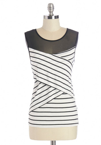 On the Right Track Top - Black/White, Sleeveless, Mid-length, Sheer, Knit, White, Stripes, Party, Sleeveless, Spring, Summer, Scoop, Black