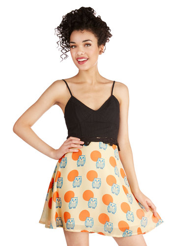 Wise Friend Skirt - Print with Animals, Belted, Casual, Owls, A-line, High Waist, Summer, Knit, Good, Yellow, Multi, Orange, Yellow, Blue, Critters, Mid-length