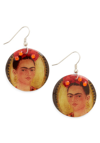 Frida for All Earrings - Multi, Rhinestones, Casual, Scholastic/Collegiate, Nifty Nerd, Novelty Print