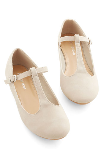 Around-the-Clock Cute Flat in Beige - Flat, Cream, Solid, Wedding, Work, Daytime Party, Graduation, Minimal, Good, T-Strap, Variation