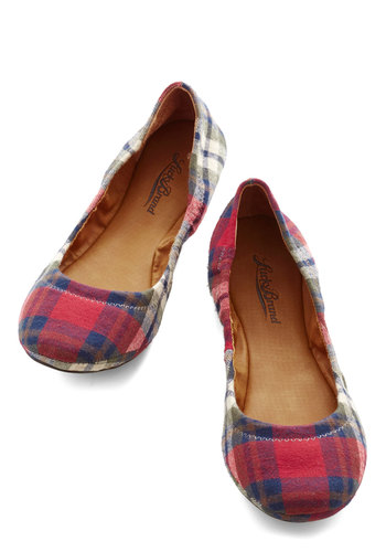 Frolic in Flagstaff Flat in Plaid by Lucky - Red, Multi, Plaid, Casual, Better, Flat, Woven, Scholastic/Collegiate, Fall, Variation