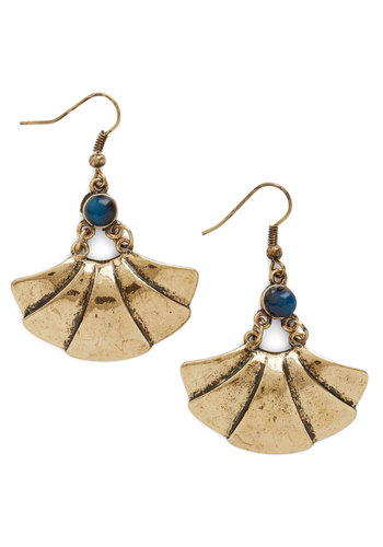 Fan of the Hour Earrings - Blue, Solid, Girls Night Out, Urban, Gold