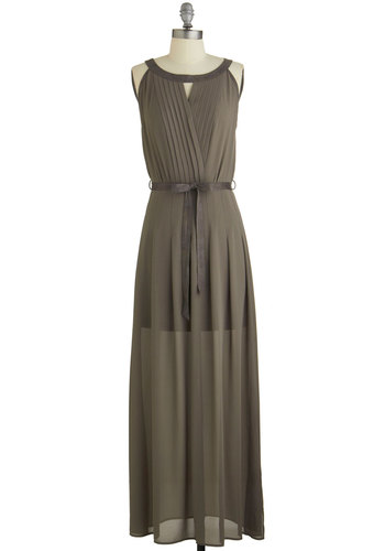 Urban Excursion Dress - Grey, Solid, Cutout, Pleats, Belted, Special Occasion, Party, Maxi, Sleeveless, Fall, Woven, Better