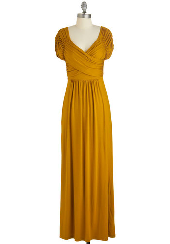 Ocean of Elegance Dress in Goldenrod - Solid, Ruching, Wedding, Casual, Bridesmaid, A-line, Good, Fall, Knit, Yellow, Short Sleeves, Variation, Long