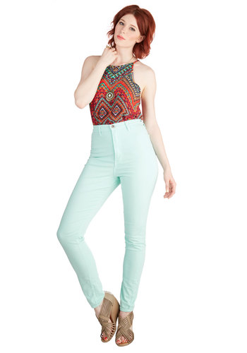 Gotta Jet Set Jeans in Mint - High Waist, Skinny, Good, Ultra High Rise, Ankle, Green, Colored, Denim, Cotton, Mint, Solid, Casual, Vintage Inspired, 90s, Spring, Summer, Denim, Variation, Blue