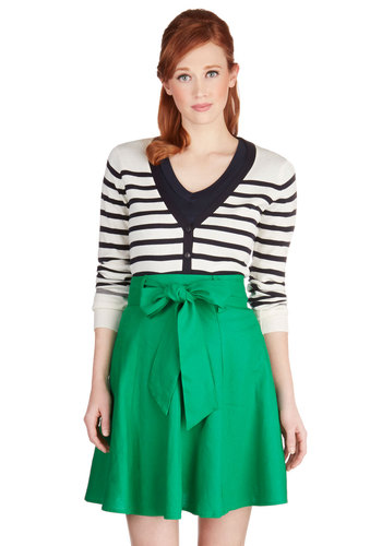 Musee Matisse Skirt in Green - Green, Solid, Casual, A-line, Mid-length, Exclusives, Belted, Best Seller, Daytime Party, Work, Variation, Pinup, Basic, Folk Art, Good, Green, Spring, Gals, Summer, Fall, Top Rated, 4th of July Sale