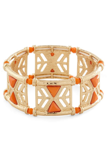 In the Cabana Bracelet in Orange - Orange, Solid, Beads, Casual, Cocktail, Boho, Urban, Gold, Variation, Fall