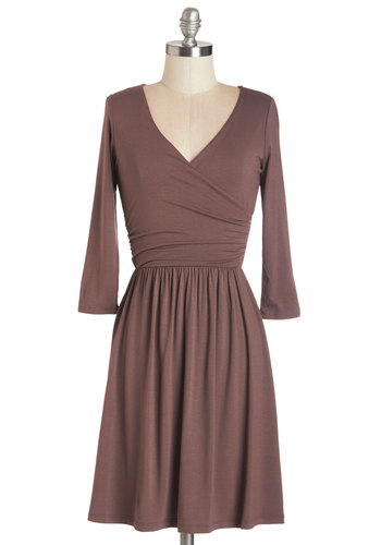 Everywhere You Flow Dress in Mocha - Brown, Solid, Work, Casual, A-line, 3/4 Sleeve, Knit, Good, V Neck, Minimal, Ruching, Mid-length