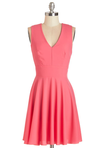 Sunny Skies Ahead Dress in Pink - Variation, Pink, Solid, Cutout, Girls Night Out, A-line, Sleeveless, Summer, Better, V Neck, Woven, Mid-length