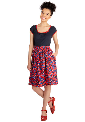 Berry Popular Skirt by Bea & Dot - A-line, Knit, Mid-length, Novelty Print, Pockets, Casual, Fruits, Exclusives, Private Label, Red, Daytime Party, Spring, Summer, Better, Red, High Waist, Good