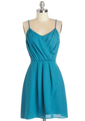 Summertime Streets Dress - Blue, Solid, Party, A-line, Woven, Good, Mid-length, Exposed zipper, Pleats, Spaghetti Straps