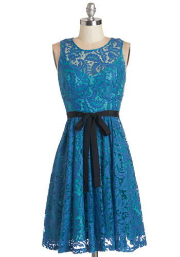 Plenty by Tracy Reese Moonlit Lagoon Dress by Plenty by Tracy Reese - Blue, Lace, Belted, Wedding, Daytime Party, Bridesmaid, A-line, Sleeveless, Woven, Better, Scoop, Mid-length, Lace