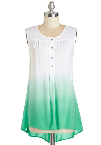 Succulent Garden Top - Woven, Green, Ombre, Casual, Sleeveless, Summer, White, Sleeveless, White, Buttons, Scoop, Mid-length