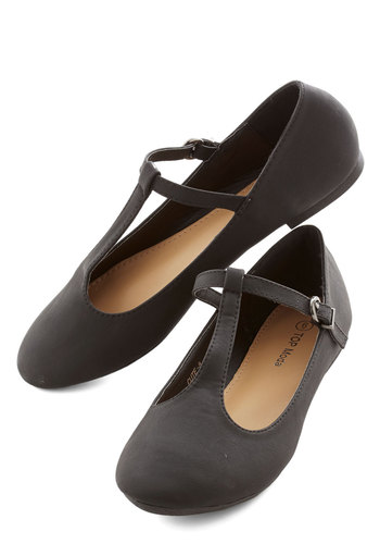 Around-the-Clock Cute Flat in Black - Flat, Black, Solid, Work, Casual, Minimal, Good, T-Strap, Variation