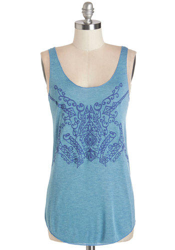 Fest Prep Top in Blue - Mid-length, Knit, Blue, Print, Casual, Tank top (2 thick straps), Summer, Variation, Scoop, Blue, Sleeveless