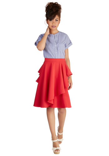 Into the Flamenco Skirt - Solid, Ruffles, Party, Holiday Party, Exclusives, Vintage Inspired, Better, Red, Red, Knit, Mid-length, Full, Spring, Fall, Winter, Top Rated, WPI