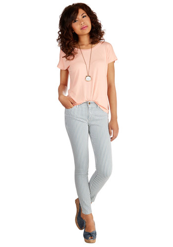 Ryes to the Top Pants - Skinny, Good, Low-Rise, Full length, White, Printed/Patterned, Denim, Knit, Green, White, Stripes, Pockets, Casual