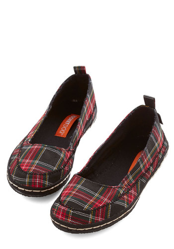 Walk Around the Dock Flat in Plaid - Flat, Woven, Red, Plaid, Casual, Better, Multi, Black, Variation