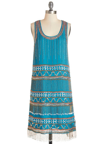 Speakeasy with Confidence Dress - Blue, Coral, Beads, Fringed, Sequins, Special Occasion, Prom, Party, Vintage Inspired, 20s, Shift, Sleeveless, Woven, Better, Scoop, Mixed Media, Mid-length