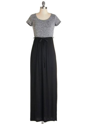 Book Swap Dress - Black, Grey, Belted, Casual, Maxi, Short Sleeves, Knit, Good, Scoop, Long, Jersey