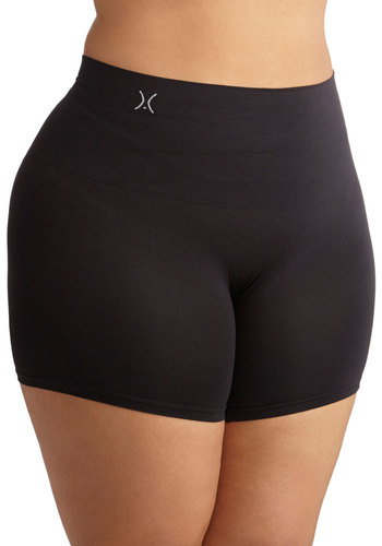 Sultry Silhouette Contouring Shorts in Black - Plus Size - Knit, Black, Solid, Basic