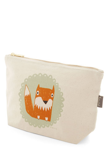 The Crowd Goes Wilderness Makeup Bag in Fox - Multi, Exposed zipper, Casual, Critters, Print with Animals, Cotton, Under $20, Woodland Creature