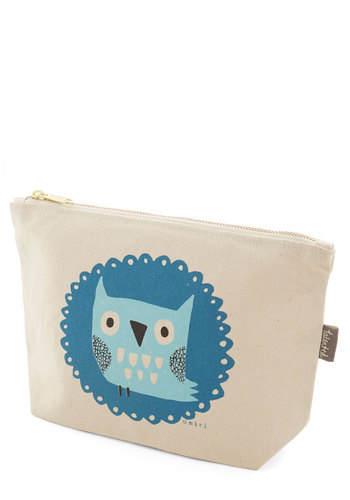 The Crowd Goes Wilderness Makeup Bag in Owl - Print with Animals, Exposed zipper, Casual, Owls, Cotton, Multi, Gals, Under $20, Woodland Creature