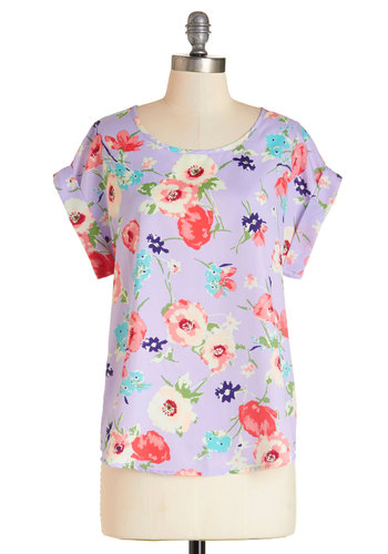 You Know You're My Bouquet Top - Mid-length, Woven, Lavender, Purple, Pink, Tan / Cream, Floral, Casual, Daytime Party, Short Sleeves, Spring, Summer, Purple, Short Sleeve, Scoop