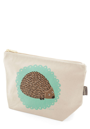 The Crowd Goes Wilderness Makeup Bag in Hedgehog - Multi, Print with Animals, Casual, Quirky, Critters, Cotton, Woodland Creature
