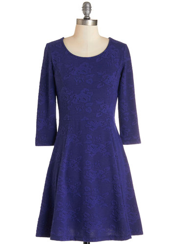 Ink and a Smile Dress by Jack by BB Dakota - Blue, Party, A-line, 3/4 Sleeve, Knit, Better, Scoop, Mid-length, Solid