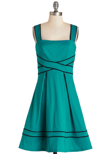Pickin' and Choosin' Dress - Green, Pleats, Trim, Daytime Party, A-line, Sleeveless, Woven, Better, Mid-length, Solid, Full-Size Run