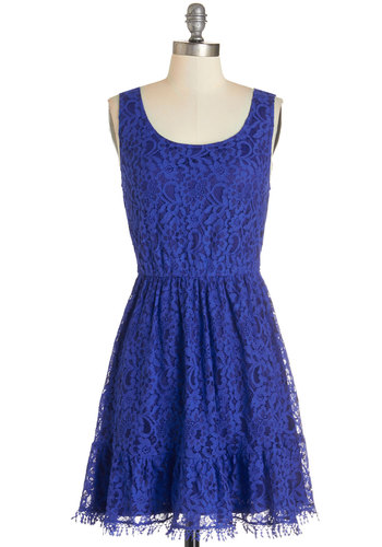 Tendril Moments Dress - Blue, Solid, Crochet, Lace, Party, A-line, Sleeveless, Woven, Lace, Good, Scoop, Mid-length