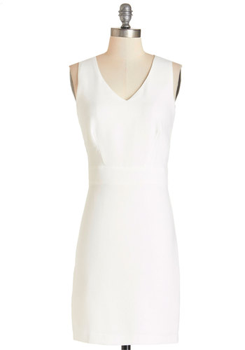Pitching Perfectly Dress - White, Solid, Party, Girls Night Out, Shift, Sleeveless, Woven, Better, V Neck, Mid-length, Exposed zipper, Minimal