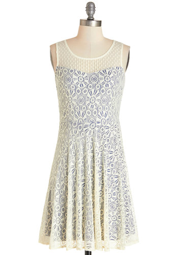 Singing in Round Dress - Blue, Lace, Casual, Americana, A-line, Sleeveless, Woven, Good, Scoop, Mid-length, Lace, Cream