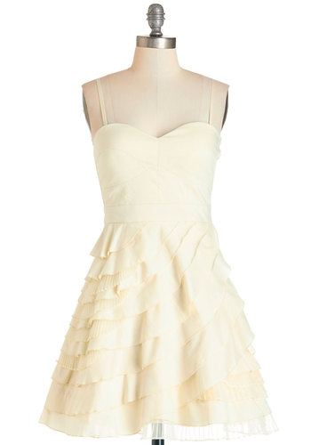 Baklava Beauty Dress - Cream, Solid, Pleats, Ruffles, Tiered, Prom, Wedding, Party, Luxe, A-line, Spaghetti Straps, Short, Best Seller, Bridesmaid, Top Rated, Homecoming