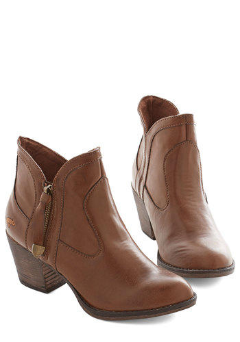 Travel Light Bootie - Mid, Faux Leather, Brown, Solid, Exposed zipper, Better, Chunky heel