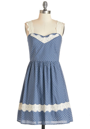 Got It Down Home Dress - Blue, White, Polka Dots, Lace, Daytime Party, Americana, Sleeveless, Summer, Woven, Good, Sweetheart, Mid-length, Cotton