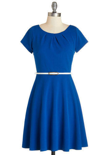 Skilled and Shining Dress - Blue, Solid, Pleats, Belted, Work, Casual, Americana, A-line, Cap Sleeves, Knit, Scoop, Mid-length, Full-Size Run