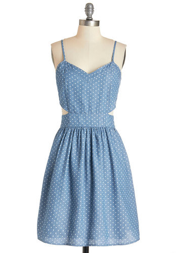 Stylish Spontaneity Dress - Blue, White, Polka Dots, Cutout, Casual, Sundress, Americana, A-line, Summer, Woven, Good, V Neck, Mid-length, Pockets, Spaghetti Straps